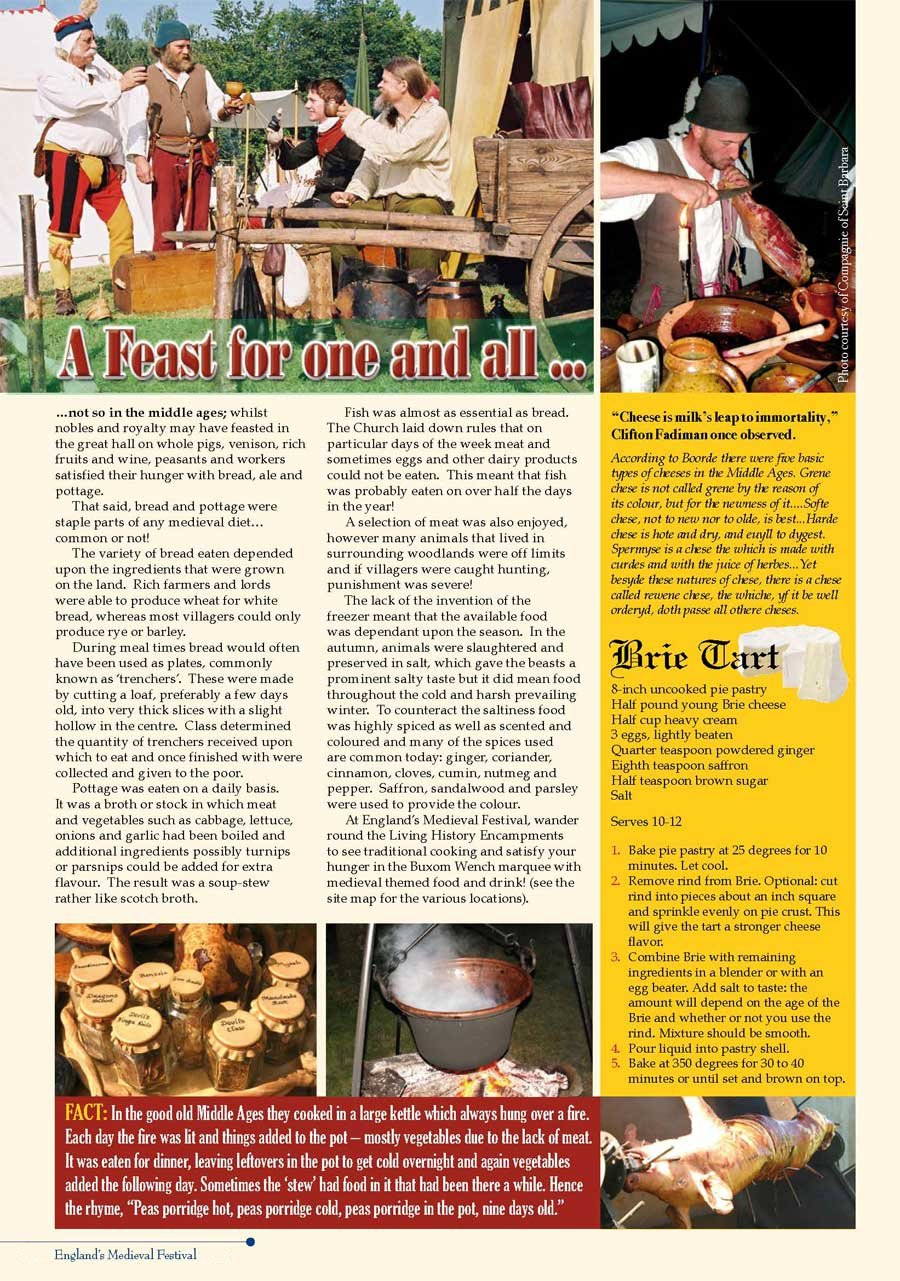 Medieval Banquet Food List